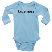 Load image into Gallery viewer, teelaunch T-shirt Long Sleeve Baby Bodysuit / Light Blue / NB Unsupervised
