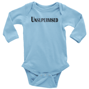 teelaunch T-shirt Long Sleeve Baby Bodysuit / Light Blue / NB Unsupervised