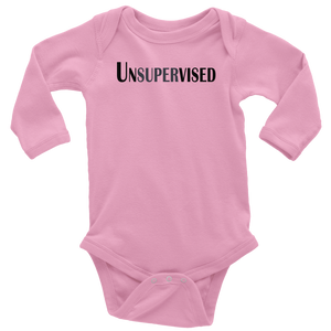 teelaunch T-shirt Long Sleeve Baby Bodysuit / Pink / NB Unsupervised