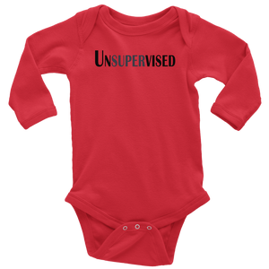 teelaunch T-shirt Long Sleeve Baby Bodysuit / Red / NB Unsupervised