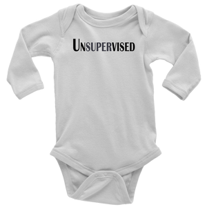 teelaunch T-shirt Long Sleeve Baby Bodysuit / White / NB Unsupervised