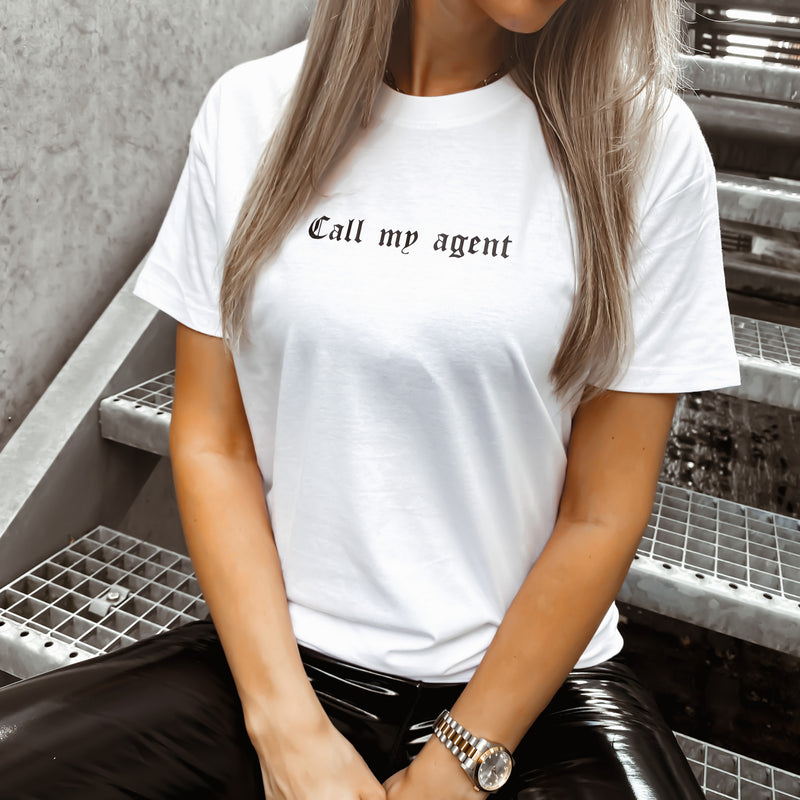 CALL MY AGENT - WHITE TSHIRT