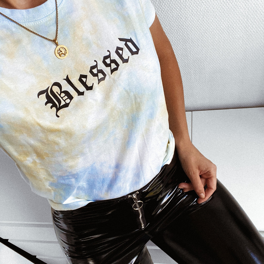 BLESSED - TIE DYE BLUE/YELLOW