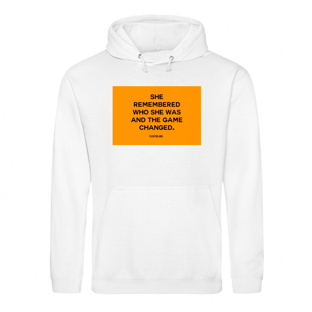 SHE REMEMBERED - WHITE/NEONORANGE HOODIE