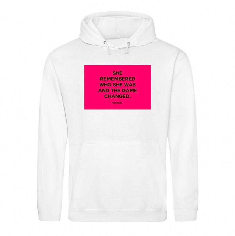 SHE REMEMBERED - WHITE/NEONPINK HOODIE