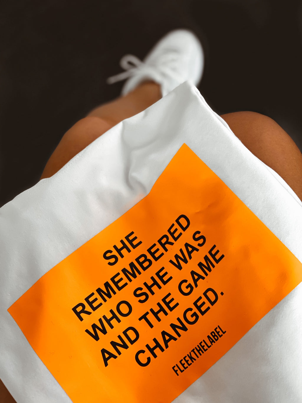 ''SHE REMEMBERED'' NEONORANGE - WHITE T-SHIRT