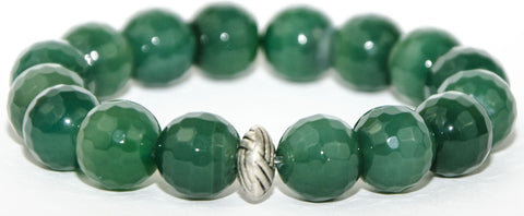 faceted green onyx with silver accent bead
