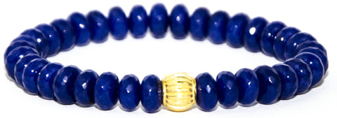 Cobalt Blue Agate Rondelle with Gold Accent Bead