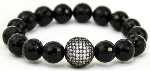 Black Faceted Onyx with Swarovski Crystal Ball