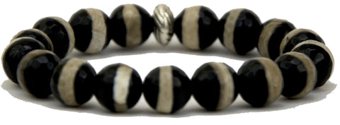 black and white striped agate with silver accent bead