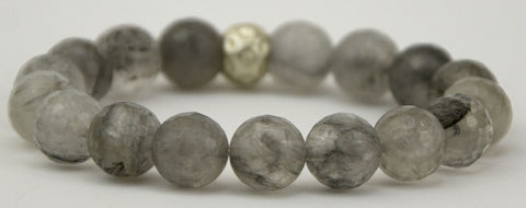 faceted cloudy quartz rounds with silver plated accent bead