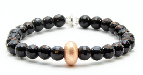 Black Faceted Onyx with Rose Gold Accent Bead
