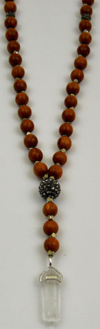 Duchess necklace jx jewelry jillian essex wood and silver beads with crystal pendant mozeypictures Gallery