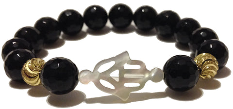 faceted black onyx rounds with mother of pearl hamsa and gold plated accent beads