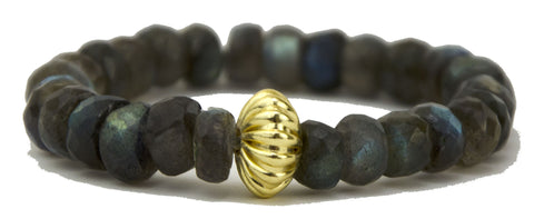 faceted labradorite rondelles with gold plated accent bead