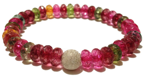 faceted tourmaline rondelle with silver plated accent bead