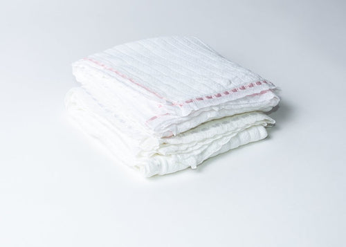 "Pointelle Rib Blanket w/Ribbon Lace Trim - 36""x36"""