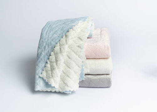 "Nanas Quilted Plush Baby Blanket with Faux Sherpa Back - 30"" x 40"""