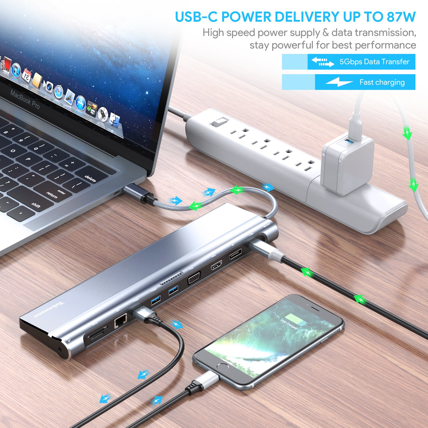 Dual Monitor Docking Station HDMI Display Port and VGA with 87W Charging 3 USB 3.0 Universal USB C Docking Station for Windows Mic SD and Micro SD for Type C Laptop Gigabit Ethernet