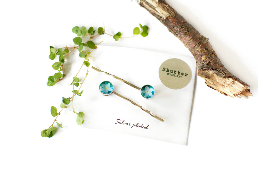 Forget me not hair pins