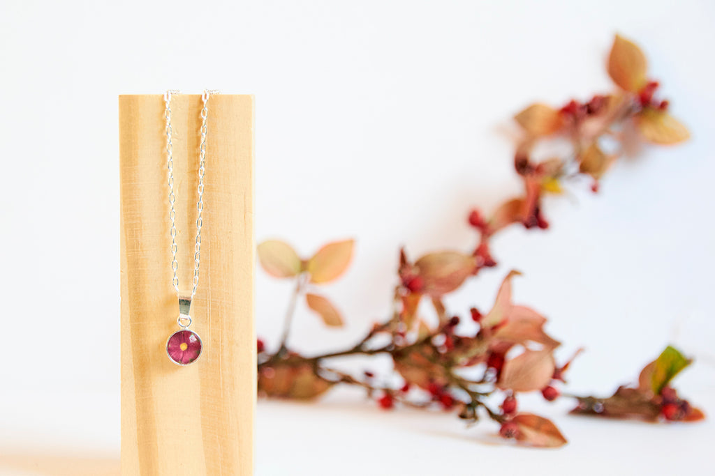 Red cosmos flower necklace