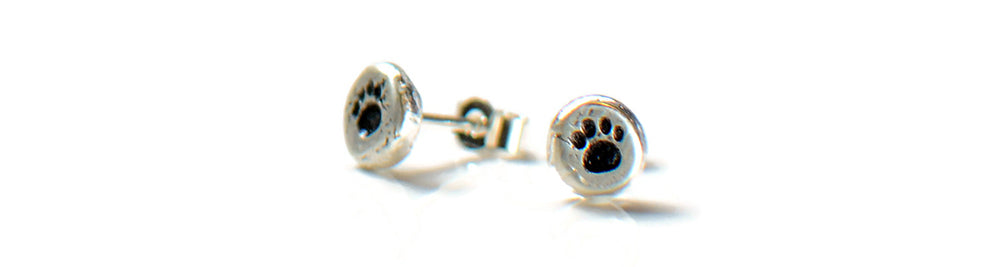 Paw print sterling silver studs