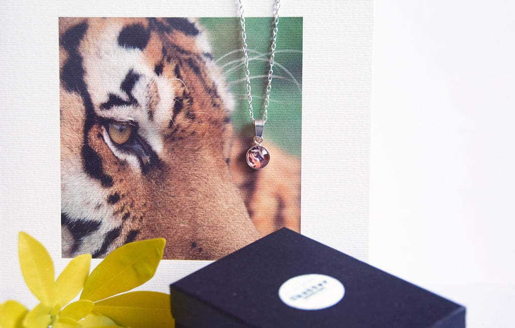 Tiger necklace and greeting card