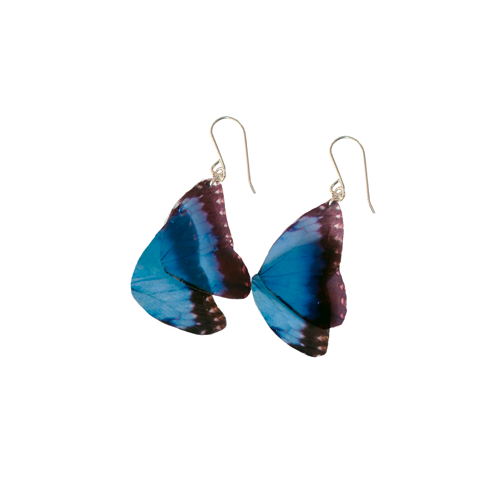 Blue Morpho Butterfly Statement Earrings