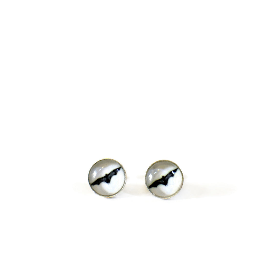 Bat stud earrings sterling silver