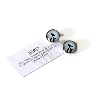 Bird Cufflinks Bar Style Silver
