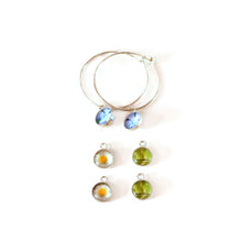 Load image into Gallery viewer, Botanical Hoop Earrings and Charm Set