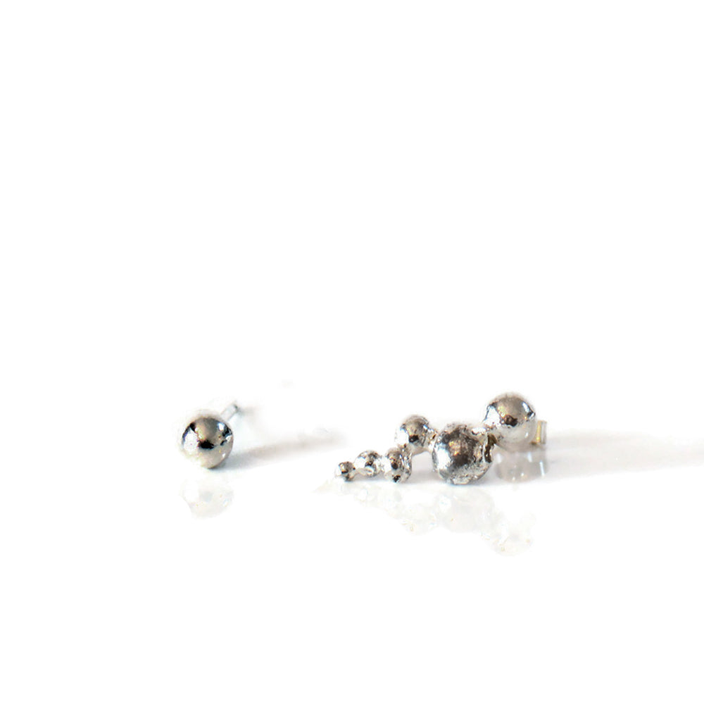 Mismatch Recycled Caterpillar and Ball Silver Stud Earrings