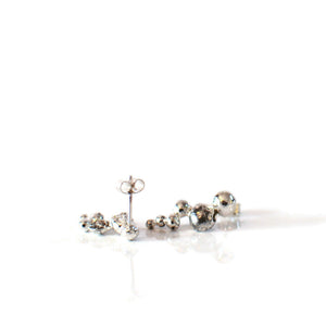 Mismatch Recycled Caterpillar Silver Stud Earrings