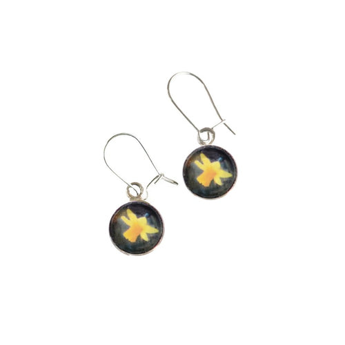 Daffodil silver drop earrings