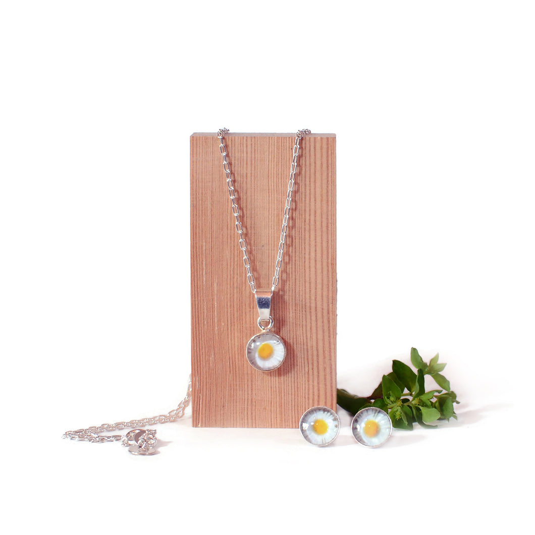Daisy flower silver jewellery set