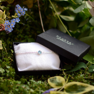 Silver forget me not bracelet in gift box