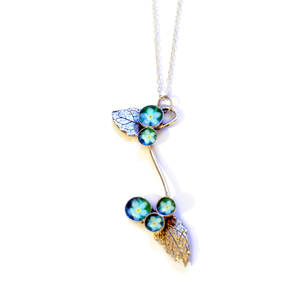 Forget Me Nots & Leaves Necklace