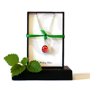 Gift boxed ladybird necklace
