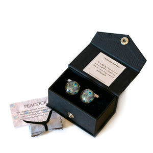 Gift boxed peacock cufflinks