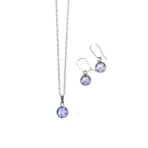 Periwinkle Necklace and Drop Earrings Gift Set