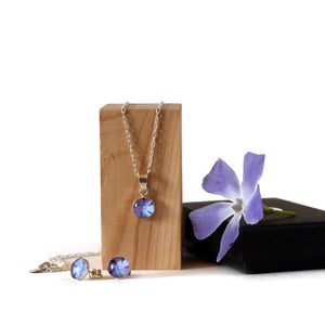Periwinkle Necklace and Stud Earrings Gift Set