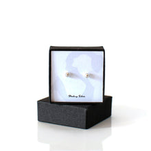 Load image into Gallery viewer, Tiny round sterling silver plain stud earrings in gift box