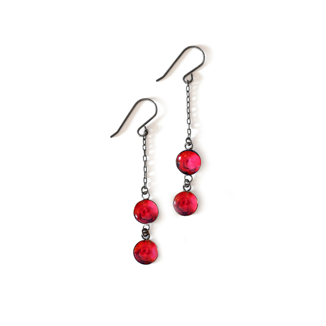 Red Rose Petite Drop Earrings - Limited Edition