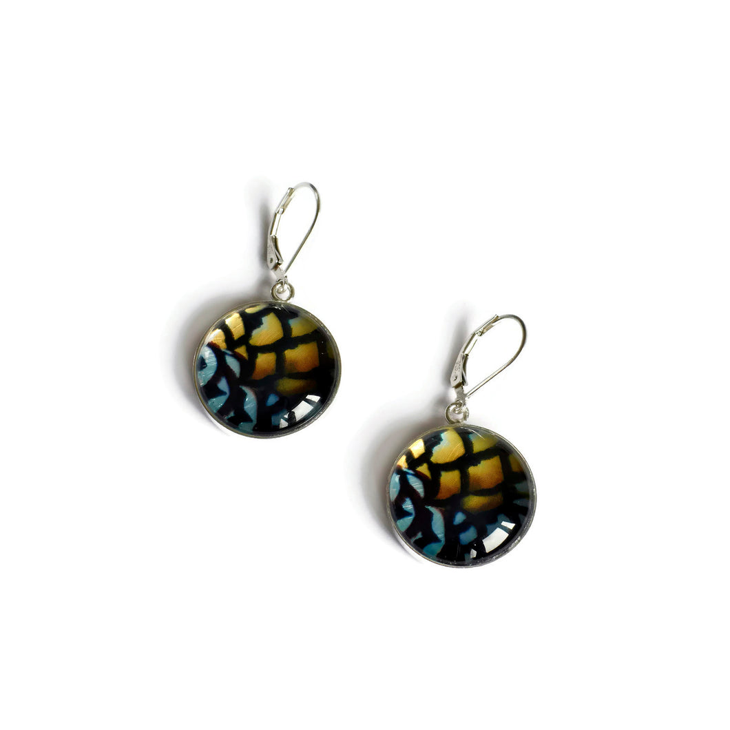 Reeves sterling silver copper and black earrings