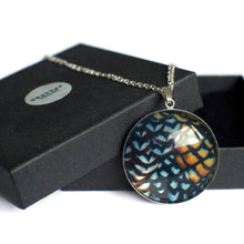 Load image into Gallery viewer, silver statement pendant copper black pattern