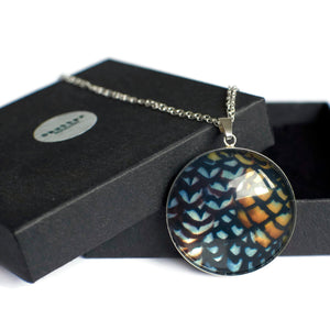 silver statement pendant copper black pattern