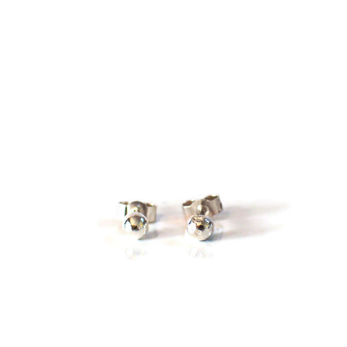 Sterling silver round pebble stud earrings