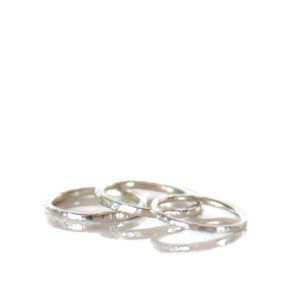 Sterling Silver Textured Band Ring 2mm