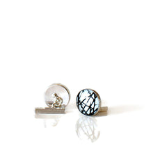 Load image into Gallery viewer, monochrome abstract silver cufflinks