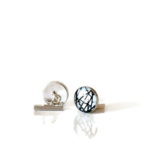monochrome abstract silver cufflinks
